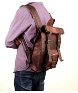 Mens Vintage 100% real Leather Backpack Sport Rucksack Travel Satchel Sc... - $60.88