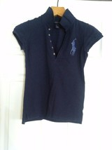 RALPH LAUREN TEENAGE GIRLS PRE-OWNED NAVY 100%COTTON POLO SHIRT SIZE:L(1... - $26.74