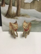 Midcentury Christmas Miniature Pair Of Celluloid Hard Plastic Rudolf Rei... - $18.00