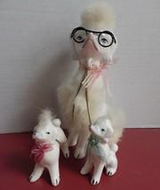 Vintage Porcelain Poodles White Fur Mother with Glasses Girl & Boy Puppi... - $19.79