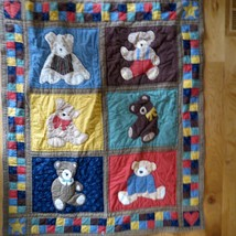 Hand stitched Teddy Bear Baby Quilt  Wall Hanging or throw crib Blanket - $34.65