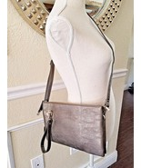 "Pewter Wristlet Crossbody Shoulder Purse Bag 11.5"" x 7.5"" Leather Handba... - $28.04"