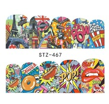 "HS Store -1 Sheets Funny Nail Sticker Water Decals Nail Art Kode ""STZ476"" - $2.52"