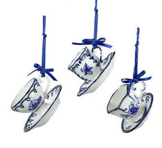 Kurt Adler Set Of 3 Porcelain Delft Blue Mini Tea Cup & Saucer Xmas Ornaments - $16.88