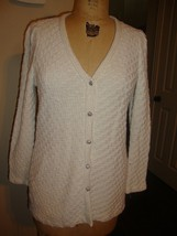 St. John Couture Ivory Knit Jacket Rhinestone Buttons GORGEOUS M - $123.70