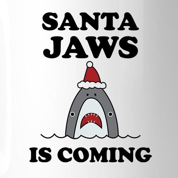 Santa Jaws Is Coming White Mug