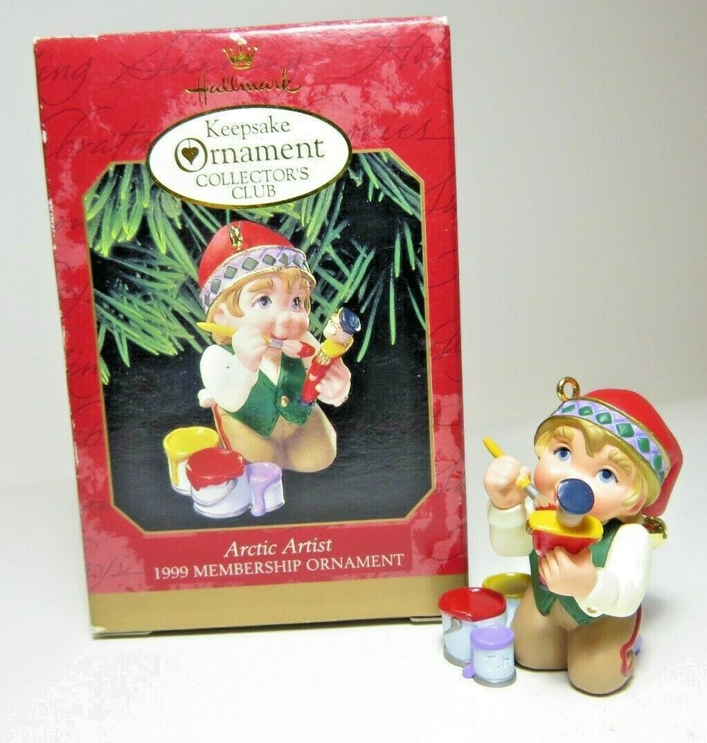 1999 Arctic Artist Membership Ornament Hallmark Collectors Club Christmas Elf