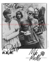 An item in the Entertainment Memorabilia category: REM BAND SIGNED AUTOGRAPHED 8x10 RP PROMO PHOTO ALL 4 R.E.M.