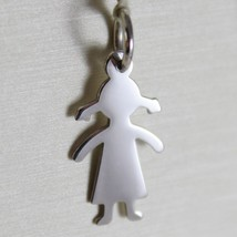 18K WHITE GOLD GIRL PENDANT, BABY, LENGTH 091 INCHES, ENGRAVABLE, MADE IN ITALY image 1