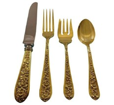 Corsage by Stieff Sterling Silver Flatware Service 12 Set Vermeil Gold 48 Pieces - $4,150.00