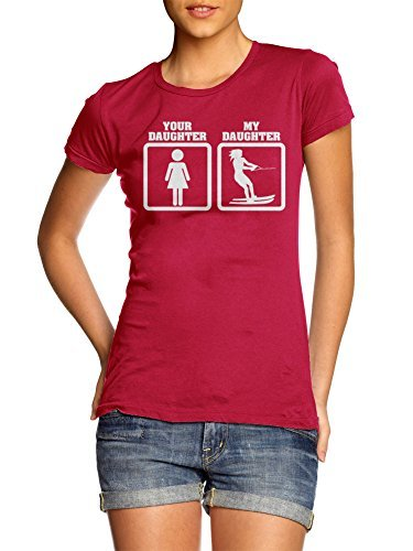 YOUR DAUGHTER MY DAUGHTER WATER SKIING S Red Girly Tee