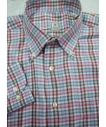 GORGEOUS Peter Millar Pink, Light Blue & Gray Plaid Cotton Shirt M 15.5x34 - $37.49