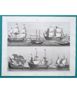 SHIPS Gunships Venetian Galley Genoese Prow Soleil Royal - 1844 Superb P... - $25.20