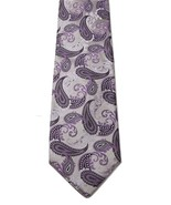 Gatsby Pure Silk Italian Light Purple Gray Handmade Paisley Print Men's ... - $19.79