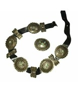 Navajo Sterling Stamped Domed Handmade Vintage 11 Pieces Concho Belt Tur... - $3,500.00