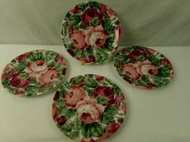 "Lyric Block Spal Rose Garden Salad Plates 8"" Red Pink Chintz Portugal Se... - $23.74"
