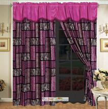 4-Pc Rectangle Patchwork Leopard Cheetah Jaguar Tiger Faux Fur Curtain Set Pink - $30.89