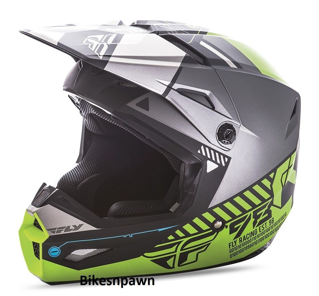 New XS Adult Fly Racing Kinetic Elite Helmet Matte Black/Grey/Hi-Viz
