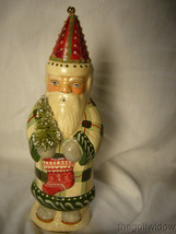 Vaillancourt Folk Art Father Christmas in Plaid with Ski Stocking & Bell Signed image 1