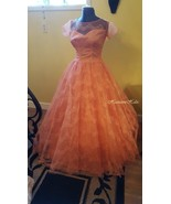 Vintage 50's formal dress orange lace gown collector princess style - $175.00