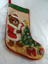 """Needlepoint stocking Teddy Bear  in Santa suit Christmas velvet back 17"""" - $23.75"""