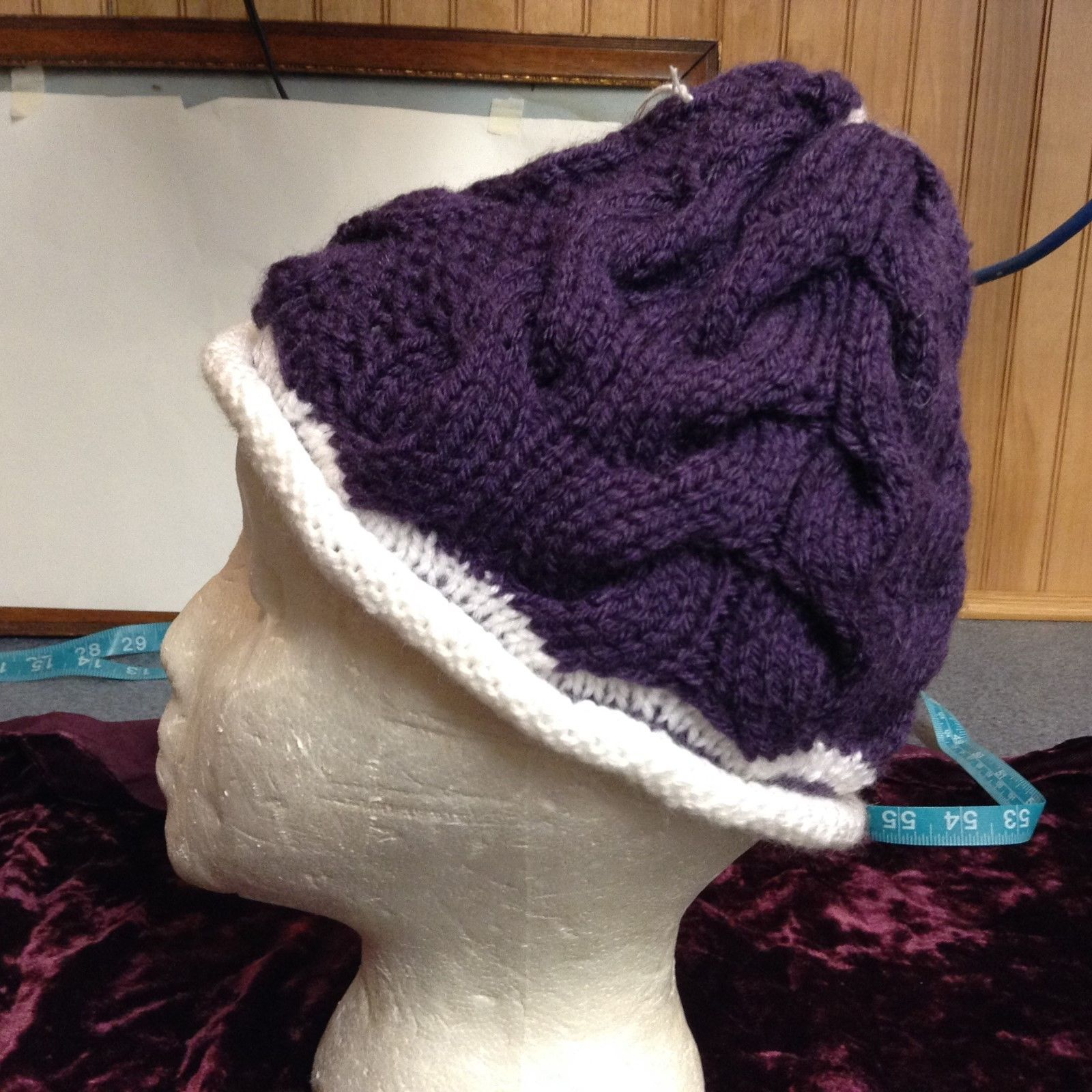 NEW Hand-knitted Purple and White Wool Beanie
