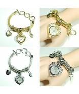 B0012 Metal Chain Bling Rhinestone LOVE Star Heart Engraved Charm Watch ... - $9.99