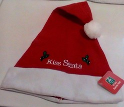 Soft Red And White Kiss Santa Hat With Sparkling Green Fig Leaves New  - $5.00