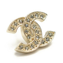 NEW Authentic Chanel Classic LARGE CC Logo Crystal Strass GOLD Stud Earrings  image 2