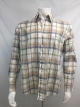 Plaid Button Down Shirt Long Sleeve Men L Large Cotton Joseph Abboud Wor... - $24.38 CAD