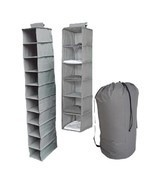 3pc Durable Gray Storage Set Closet Hanging College Dorm Clothing Shoes ... - €41,05 EUR