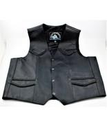 Himalaya Motor Bike Wear Men's Leather Snap Vest Coat Black Size 42 - $45.53