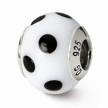 Sterling Silver s White/black Italian Murano Bead by Reflection Beads - $25.26