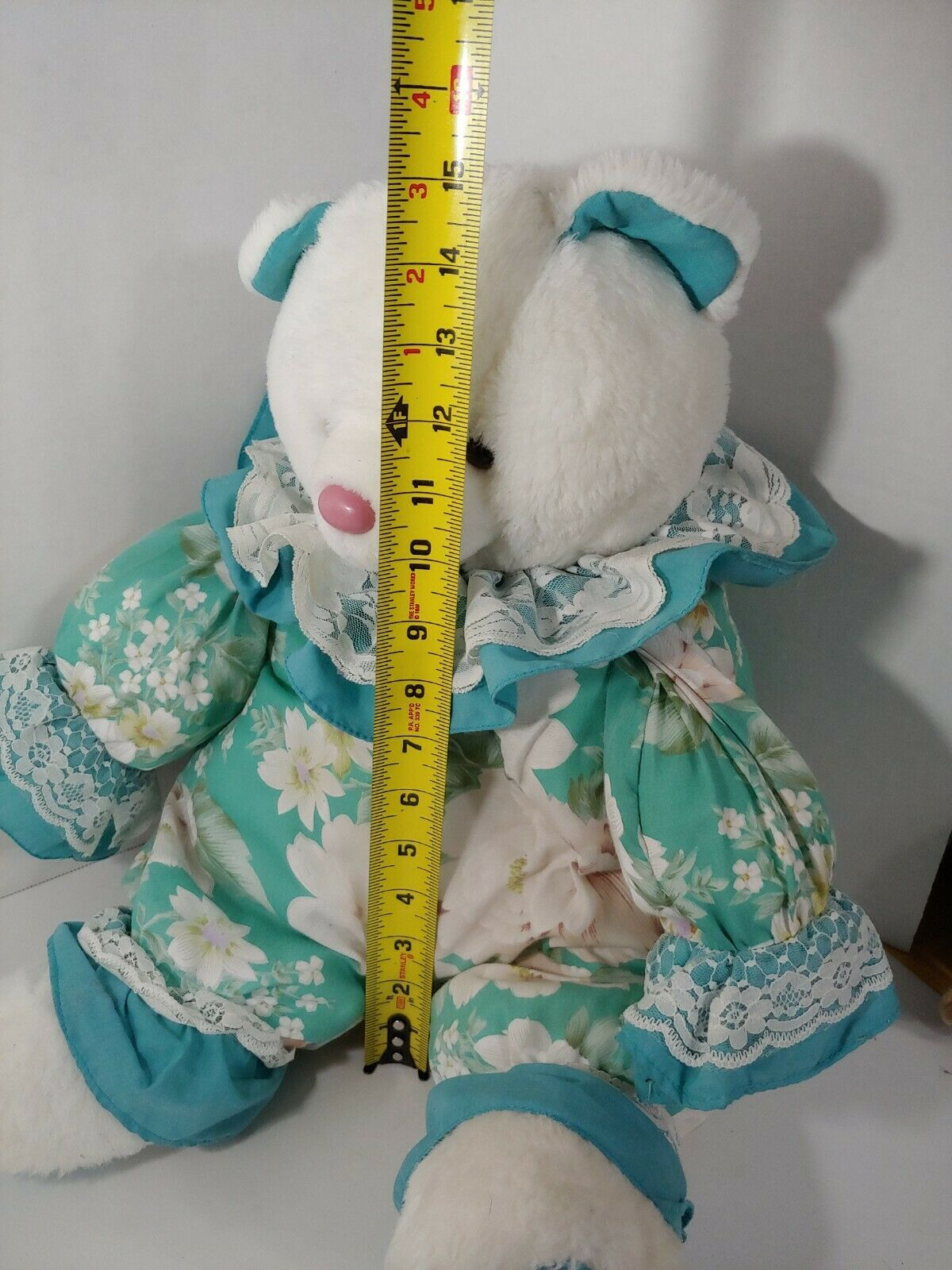 Enesco Plush white teddy bear green floral flowers outfit lace collar pink nose image 2