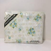 Cameo Full Fitted Sheet Tastemaker White Blue Floral - $19.34