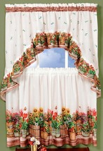 "3 pc. Kitchen Curtains Set: 2 Tiers & Swag (57""x 30"") COUNTRY GARDEN by Achim - $15.83"