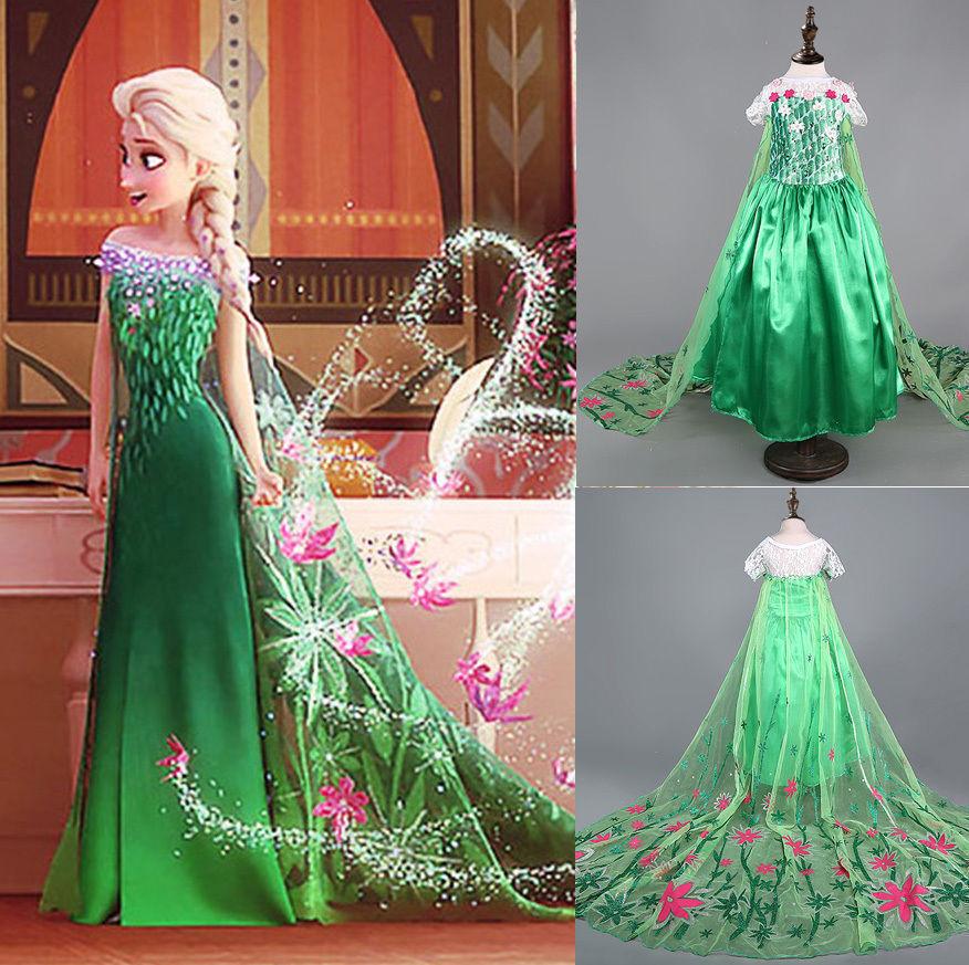 Grils Frozen Elsa Anna Costume Fever Dress Inspired Cinderella Princess Dress-12, used for sale  USA