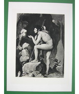 NUDE Oedipus Facing  Sphinx Skulls - SUPERB Antique Print - $18.90