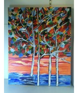 """Winter Oil Painting of  Snowy Trees, Signed 16 X 20"""", canvas, beautiful ... - $17.53"""