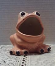 Vintage Pink Big Mouth Frog Spounge Holder // Flower Planter // Cache All - $10.99