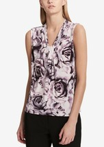 Calvin Klein Petite Printed Knot-Neck Shell PXS 4303-4 - $37.02
