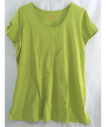 Womens Plus Size Henley T Shirt in Lime Green Short Sleeves - $19.99