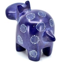 "Hand Carved Kisii Soapstone ""Happiness"" Dark Blue Hippopotamus Hippo Figure image 3"