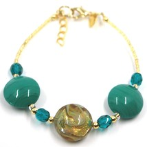 """BRACELET GREEN YELLOW MURANO DISC GLASS & GOLD LEAF, MADE IN ITALY, 19cm, 7.5"""" image 1"""