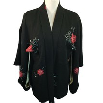 Vtg Kimono Sleeve Jacket Black with Red Flower Textured Rayon Lined One ... - $49.01