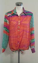 Flying Tomato Womens Orange Multicolor Blouse Sz S Front Tie Sheer - $21.99