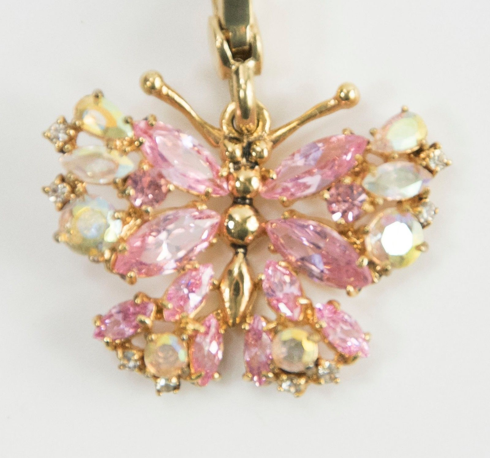 Juicy Couture CZ Pink Crystal Butterfly FULL SIZE Large Gold Bracelet Charm RARE