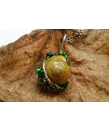 Rustling Leaves necklace: Natural snail with green beads - $36.00