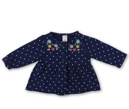Carter's Infant Girls 6 mos. Navy Blue Polk Dot Floral Cardigan Sweater  - $9.65