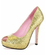 CLEARANCE Sale! L@@K -->GOLD GLITTER Size 6 heel Sex Costume Peep Toe Ra... - $12.17